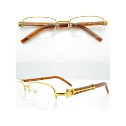 卡地亚金色半框眼镜
