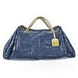 Roberto Cavalli蓝色漆皮鳄鱼皮纹路手袋