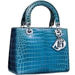 Dior蓝色鳄鱼皮手袋