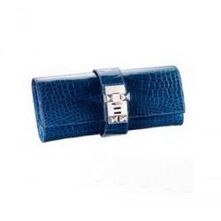 Hermes宝蓝色光面密西西比短吻鳄鱼皮手包