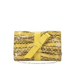 Furla黄色豹纹单链肩包