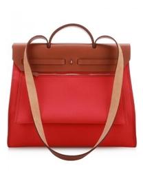 Hermes限量杜鹃红帆布Her Bag两用手袋