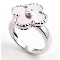 VanCleef&ArpelsAlhambra Vintage(白k金配天然白珍珠�母钻石)戒指