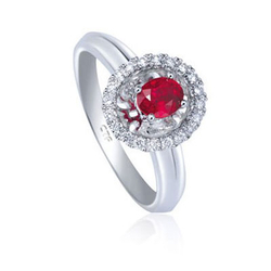 Chow Tai Fook白色18k金镶红宝石戒指