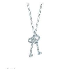 蒂芙尼复古椭圆形钥匙和鸢尾花形钥匙吊坠