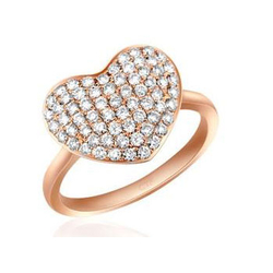 Chow Tai Fook逸趣--18k750玫瑰金镶钻石戒指