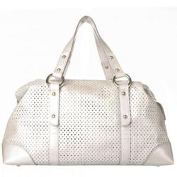 珍珠白色镂空软牛皮女士时尚手提包