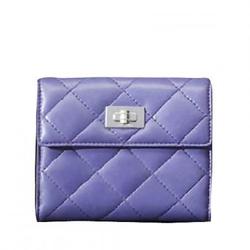 香奈儿紫色小羊皮双层菱格纹经典方扣钱夹 小号