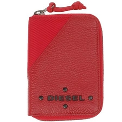Diesel红色镶铆钉LOGO纹理牛皮钱包