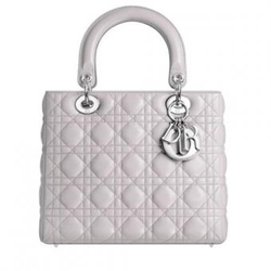 DiorLady 经典浅灰色羊皮银扣手提包 中号