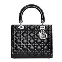 Dior黑色漆皮经典羔羊皮手袋 中号
