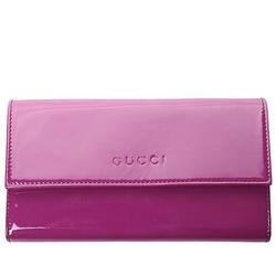 古驰,古姿,古琦紫色漆皮刻字LOGO女士长款钱包(奢华版)