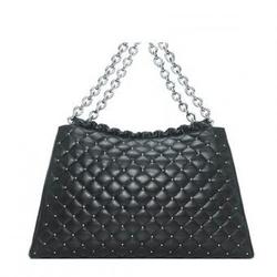 Tiffany & CoBrady黑色菱格纹木耳边名媛淑女风链条包