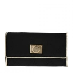 VERSACE黑色回形纹金色裹边奢华长款钱包
