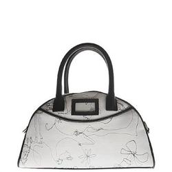 John Galliano黑色人物刺绣手提包