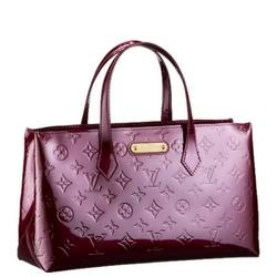 Louis Vuitton紫红色WILSHIRE BOULEVARD经典压花Logo手提包