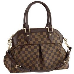 Louis Vuitton咖啡色TREVI PM经典格子褶饰两用手提包N51997