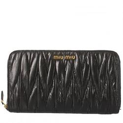 Miu Miu黑色小羊皮皱褶女士长款钱包5M0506(2011新款)
