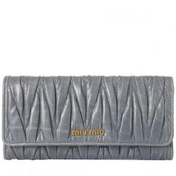 Miu Miu灰蓝色牛皮皱褶翻盖女士长款钱包5M1109(2011新款)