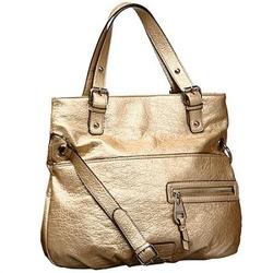 包包 金色/玖熙金色Bedrock皱褶纹理大号购物袋