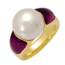 MIKIMOTO全新正品   18K黄金4.00克拉总重100%纯正人工培养的南海珍珠戒指