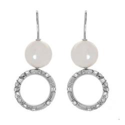 MIKIMOTO正品意大利   18K白金0.80克拉总重100%纯正珍珠耳环
