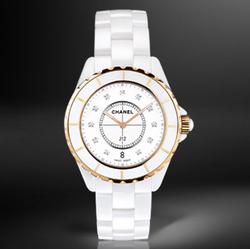 CHANEL,香奈儿J12系列18K玫瑰金镶钻腕表