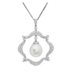 AUTORE正品  18K白金1.25克拉总重100%纯正珍珠项链