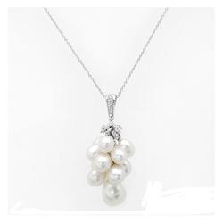 AUTORE正品  18K白金0.26克拉总重100%纯正珍珠Lariat 项链
