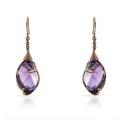 fpj正品  高质量14K玫瑰金24.80克拉总重100%纯正紫晶耳环