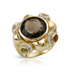 fpj正品  高质量14K黄金7.33克拉总重100%纯正黄晶戒指