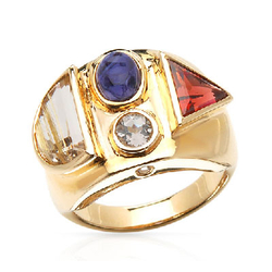 fpj正品  14K黄金5.15克拉总重100%纯正堇青石戒指
