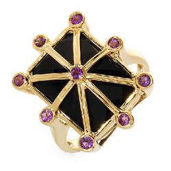 fpj正品  14K黄金9.05克拉总重100%纯正缟玛瑙戒指