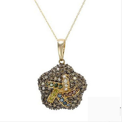 fpj正品  高质量14K黄金3.43克拉总重100%纯天然钻石项链