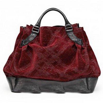 burberry酒红色隐形格纹手提包