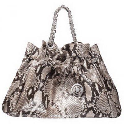 黑白花纹蟒蛇皮手提包