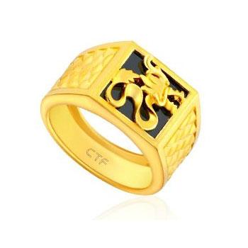 周大福权龙护身——黄金戒指