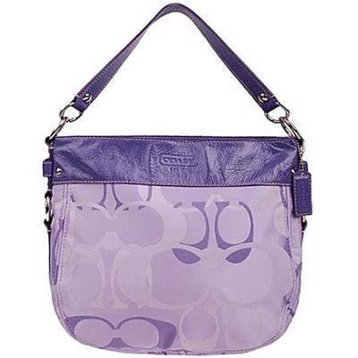 coach紫色配皮经典logo纽约斜挎两用包