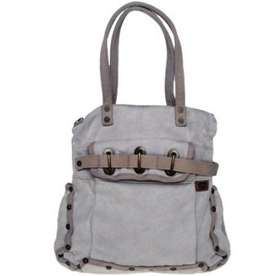 迪赛浅灰色镶铆钉帆布手挎包
