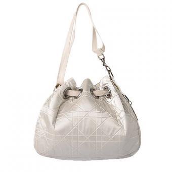 迪奥/Dior白色LADY 菱形格纹高贵抽带水桶包