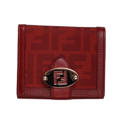 芬迪暗红色织布牛皮滚边女士三折钱包