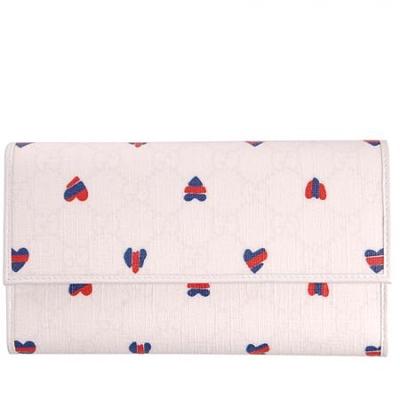 包包 gucci gucci白色心形印花长款钱包(情人节限量