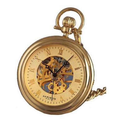 阿克波斯金色镂空机芯时尚男士复古怀表