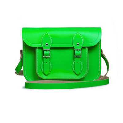 satchel11寸荧光绿剑桥包